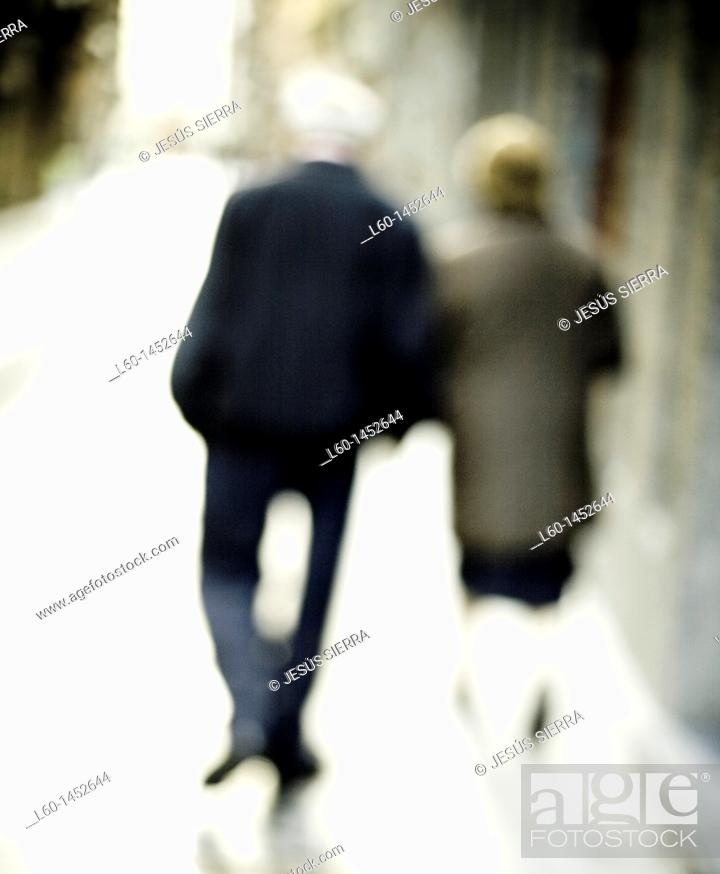 Stock Photo: People walking in Bilbao, Biscay, Spain.