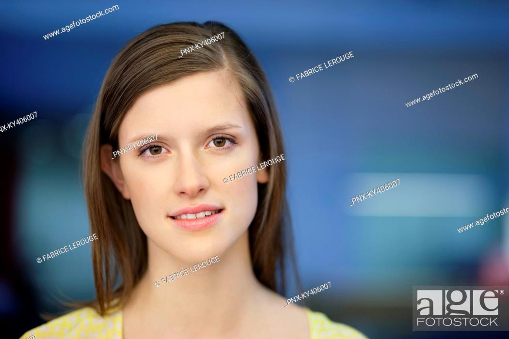 Stock Photo: Portrait of a businesswoman smiling.
