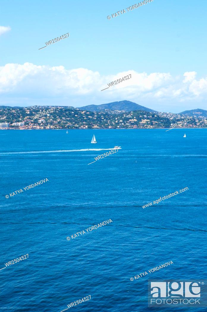 Stock Photo: Cannes and La Napoule panoramic sea bay view.