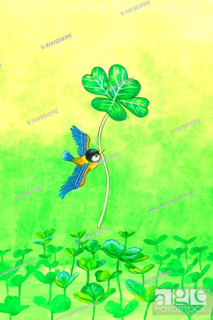 Stock Photo: Animal, Watercolor painting of a bird flying with a leaf.