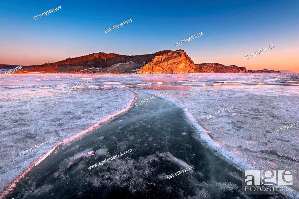 Stock Photo: Bay Uzur in the Morning, Olkhon Island, Lake Baikal, Russia.