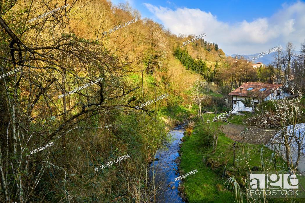 Stock Photo: Deva River, Leintz Gatzaga, Salinas de Leniz, Gipuzkoa, Basque Country, Spain.