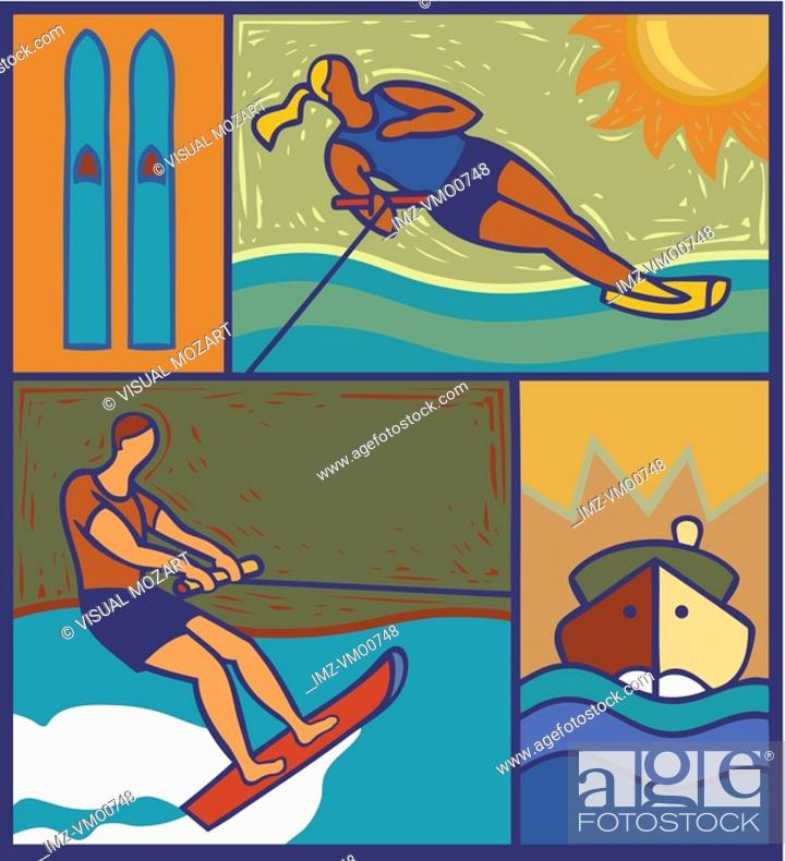 Stock Photo: Illustration of two waterskiiers.