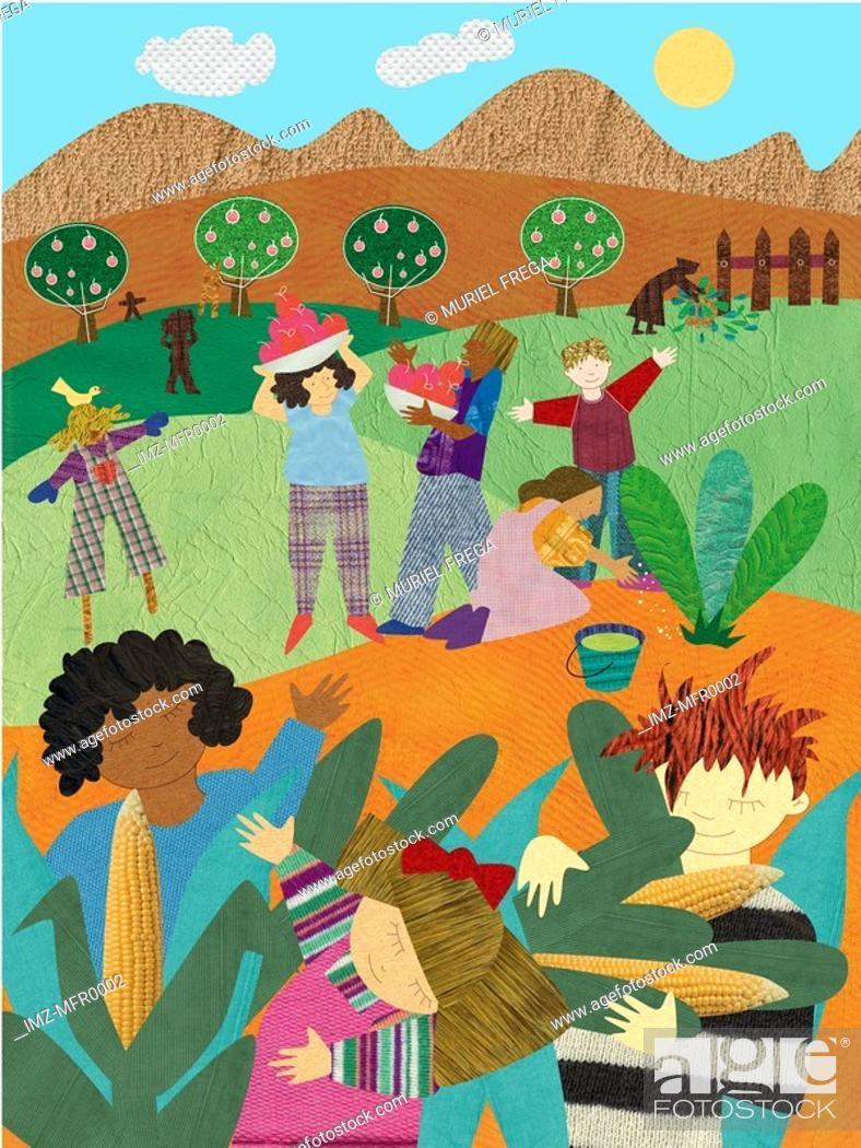 Stock Photo: An illustration of people harvesting food.