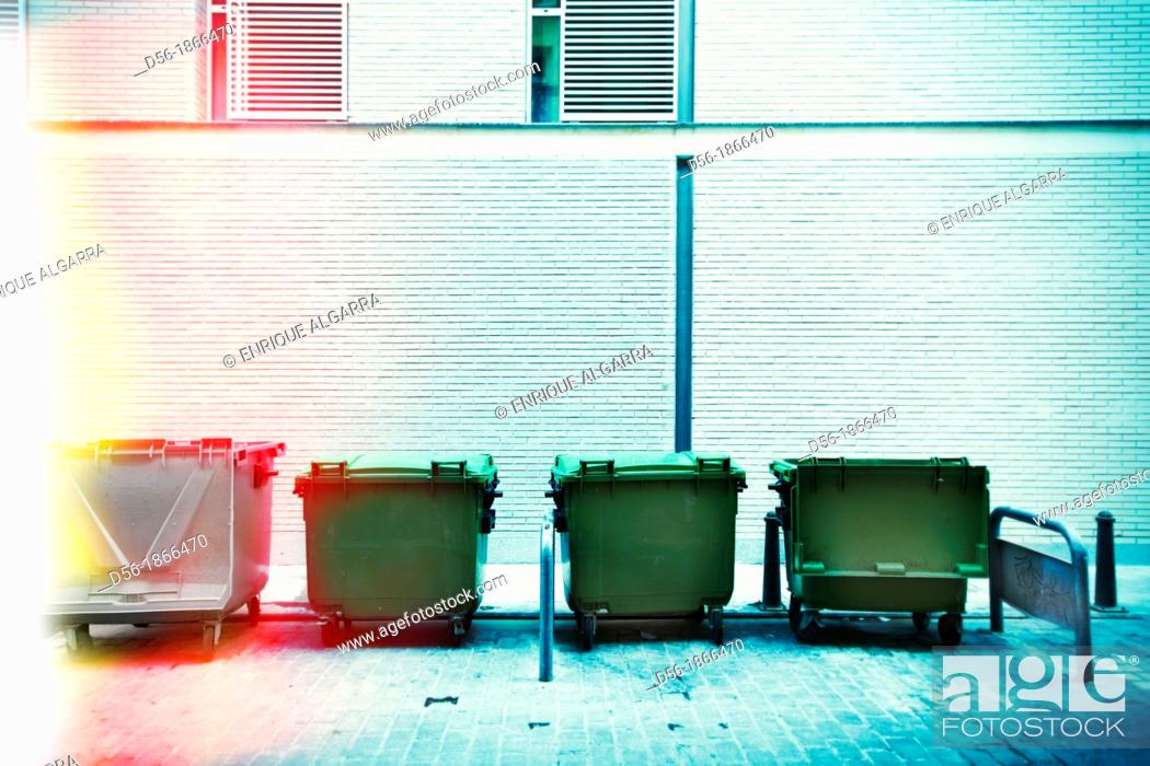 Stock Photo: Garbage containers, Valencia, Spain.