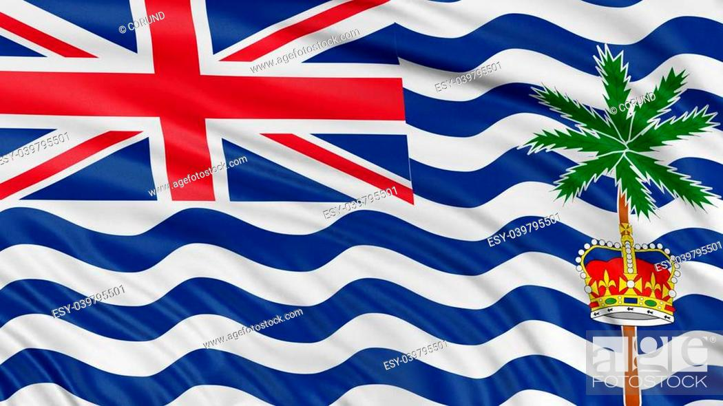 Stock Photo: 3D British Indian Ocean Territory flag with fabric surface texture. White background.