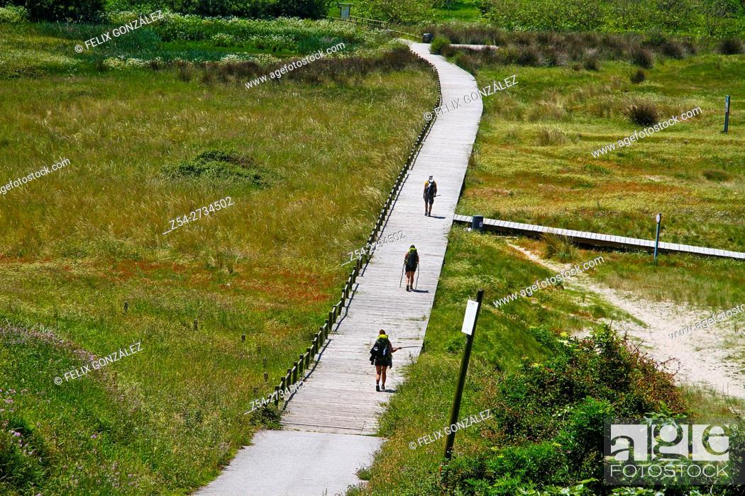 Stock Photo: Pilgrims at Peña Ronda St James Way, Asturias, Spain.