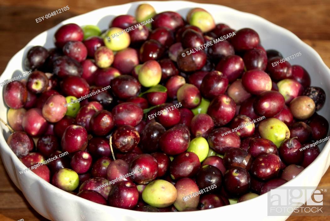 Stock Photo: close-up of Italian black olive.