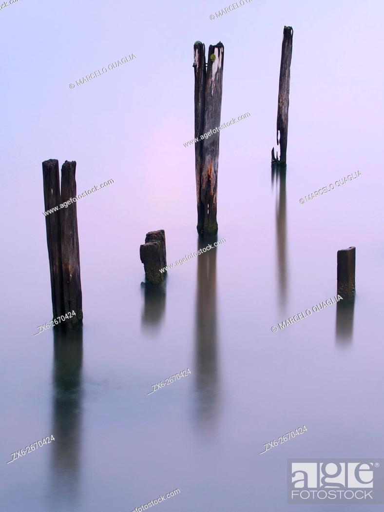 Stock Photo: Alfacs Bay at dusk. Ebro River Delta Natural Park, Tarragona province, Catalonia, Spain..