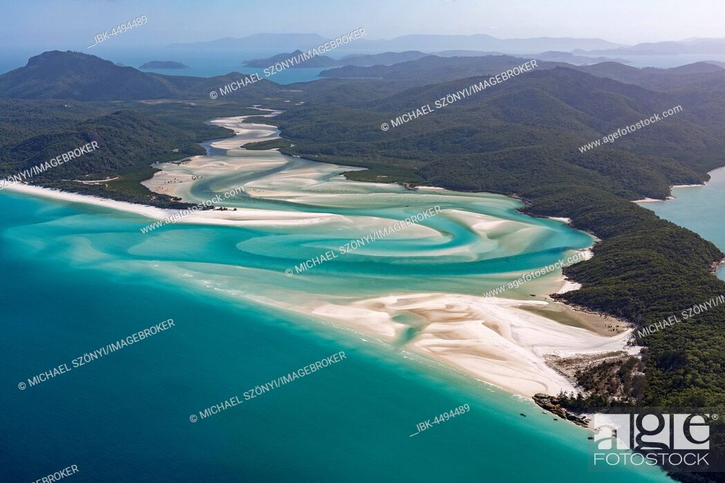 Stock Photo: Whitehaven Beach and Hill Inlet river meanders, Whitsunday Islands, Queensland, Australia.