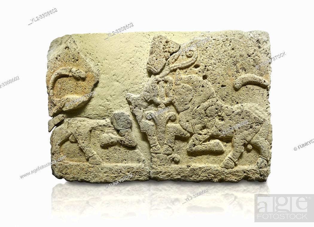 Stock Photo: Picture & image of Hittite relief sculpted orthostat stone panel of Herald's Wall Limestone, Karkamıs, (Kargamıs), Carchemish (Karkemish), 900-700 B.