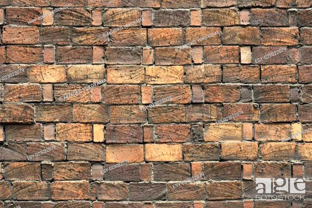 Stock Photo: Weathered brick wall close-up.