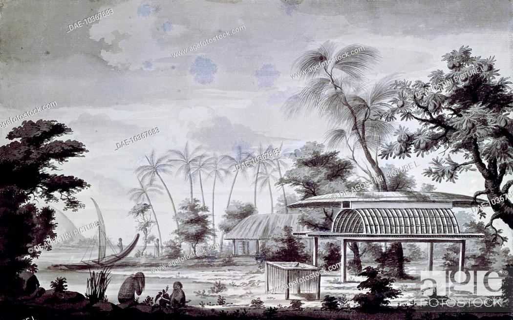 Stock Photo: Small altar with offerings on Huahine Island, engraving from a drawing by John Webber (1750-1793) from an account of the last voyage of James Cook (1728-1779).