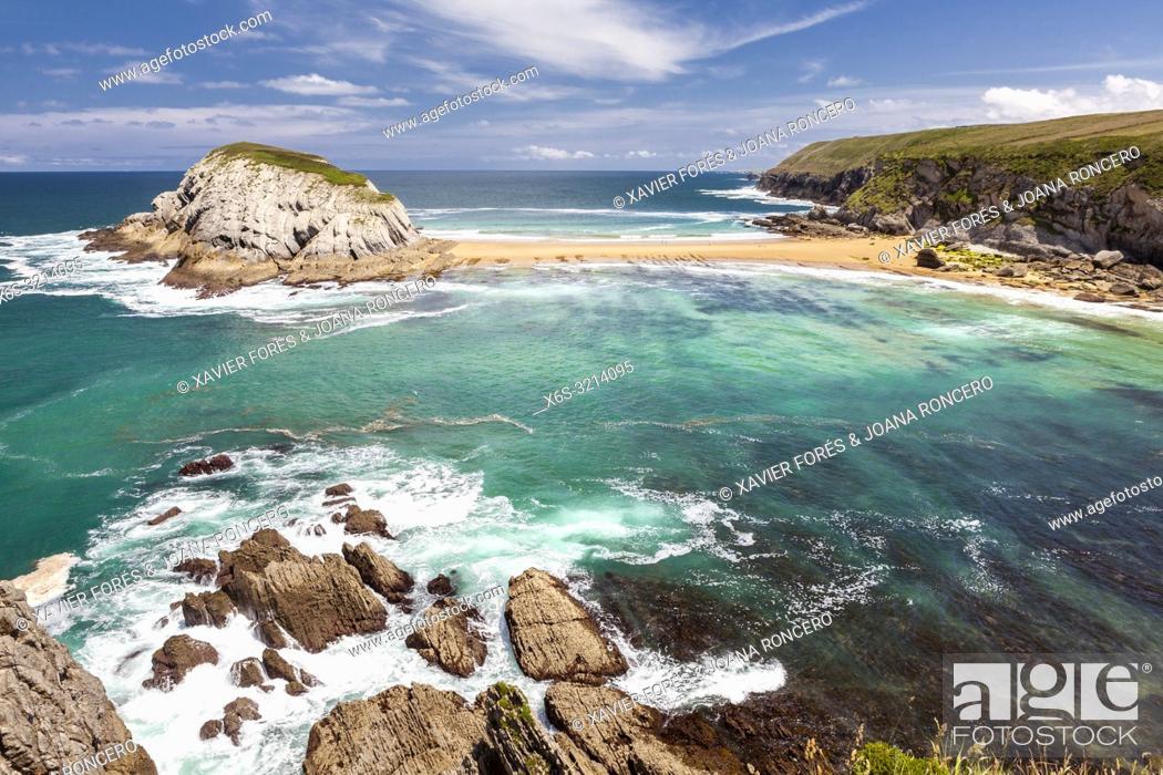 Stock Photo: Castro Island, Liencres, Cantabria, Spain.