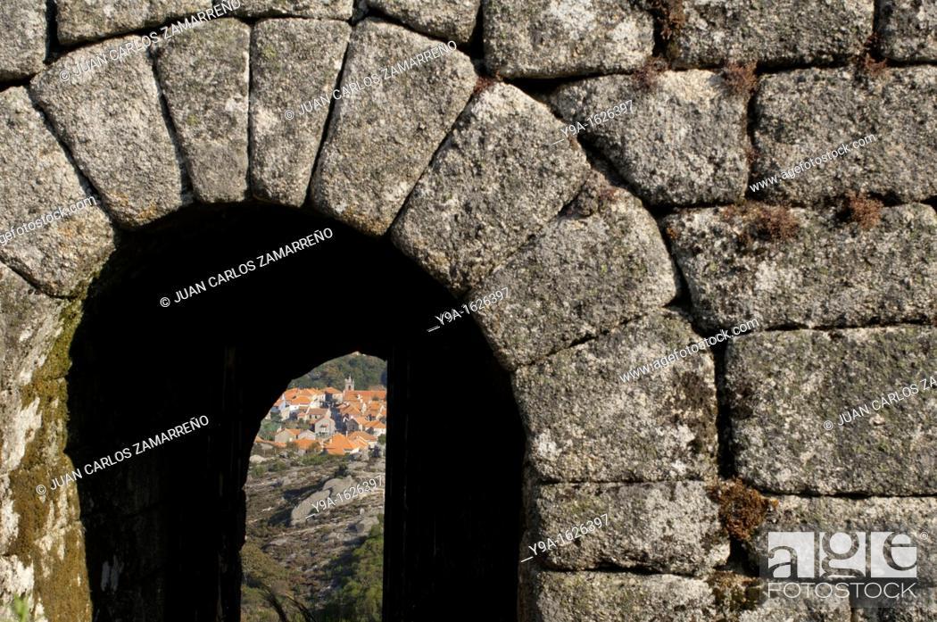 Stock Photo: Castro Laboreiro door Castle, Peneda Geres National Park, Melgaco, Minho, Portugal.