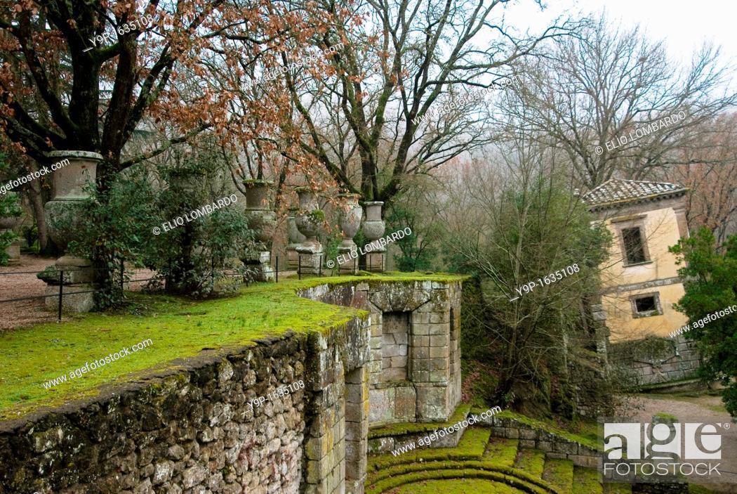 Stock Photo: The Leaning House, Parco dei Mostri monumental complex, Bomarzo, Viterbo, Lazio, Italy.
