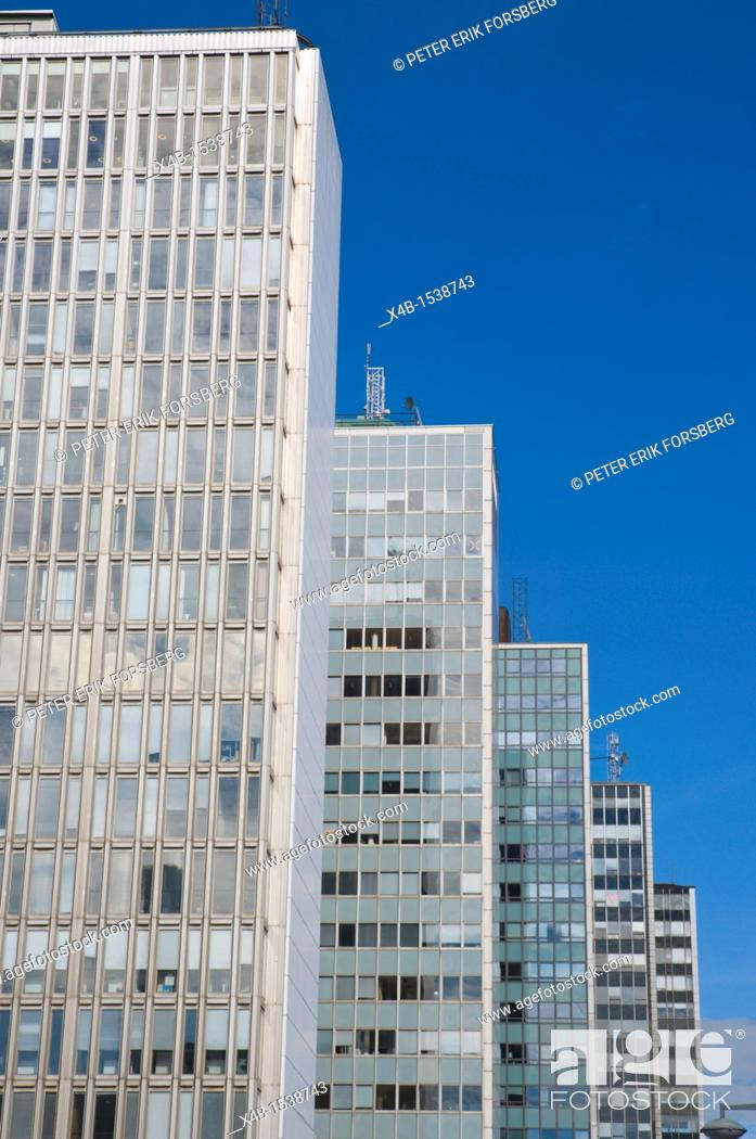 Stock Photo: Högtorgshusen the Hötorget buildings 1966 by different architects Stockholm Sweden Europe.