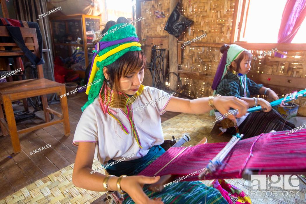 Stock Photo: Myanmar, Shan state, Inle lake, Sagar village, fiber weaving by Long-Necked Kayan.