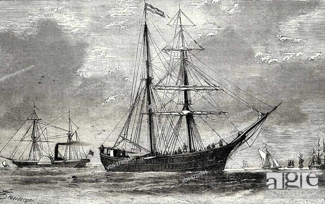 Stock Photo: The Hansa Schooner. Old 19th century engraved illustration. Second German North Polar Expedition in 1869 from El Mundo en La Mano 1879.