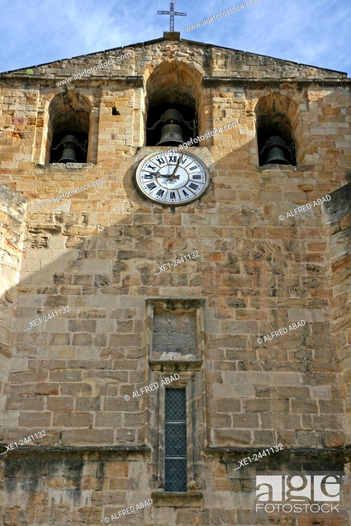 Stock Photo: Clock and bell tower, abbey of Saint-Volusien, Foix, Ariege, France.