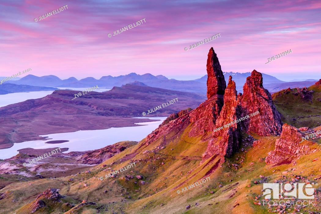 Stock Photo: Pre-dawn light over the Old Man of Storr on the Isle of Skye, Scotland.