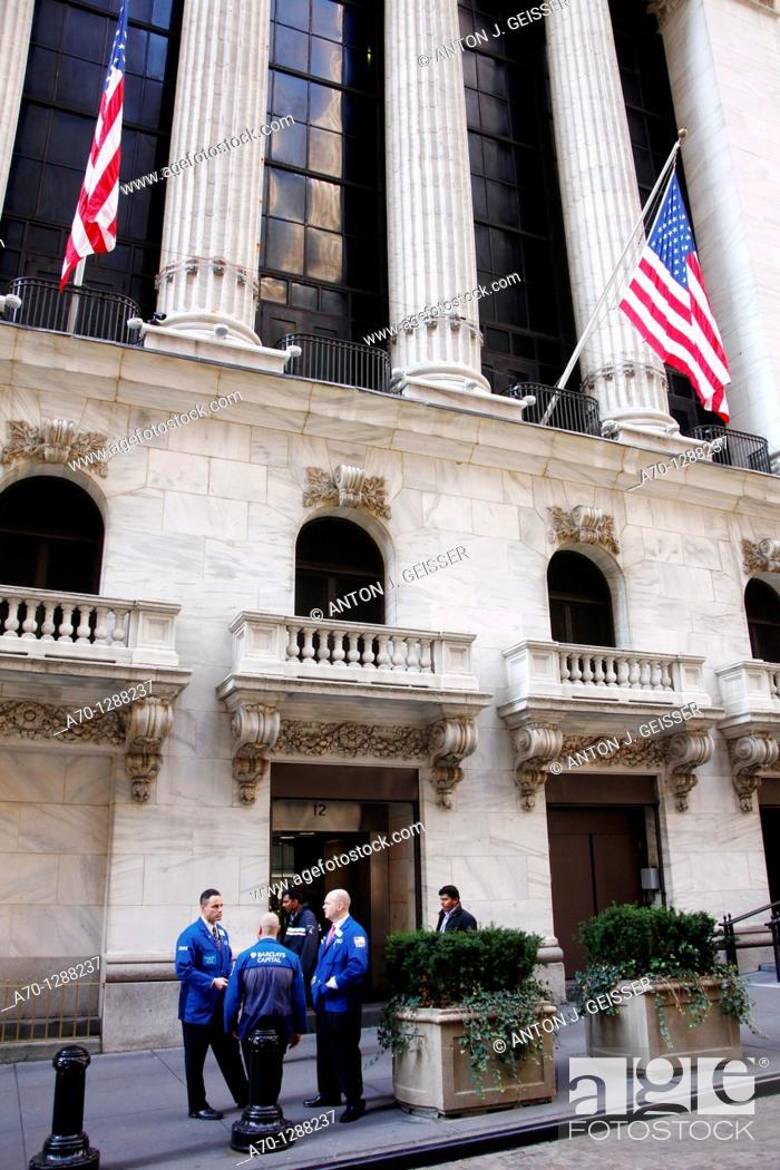 Stock Photo: New York City, wall street stock exchange.