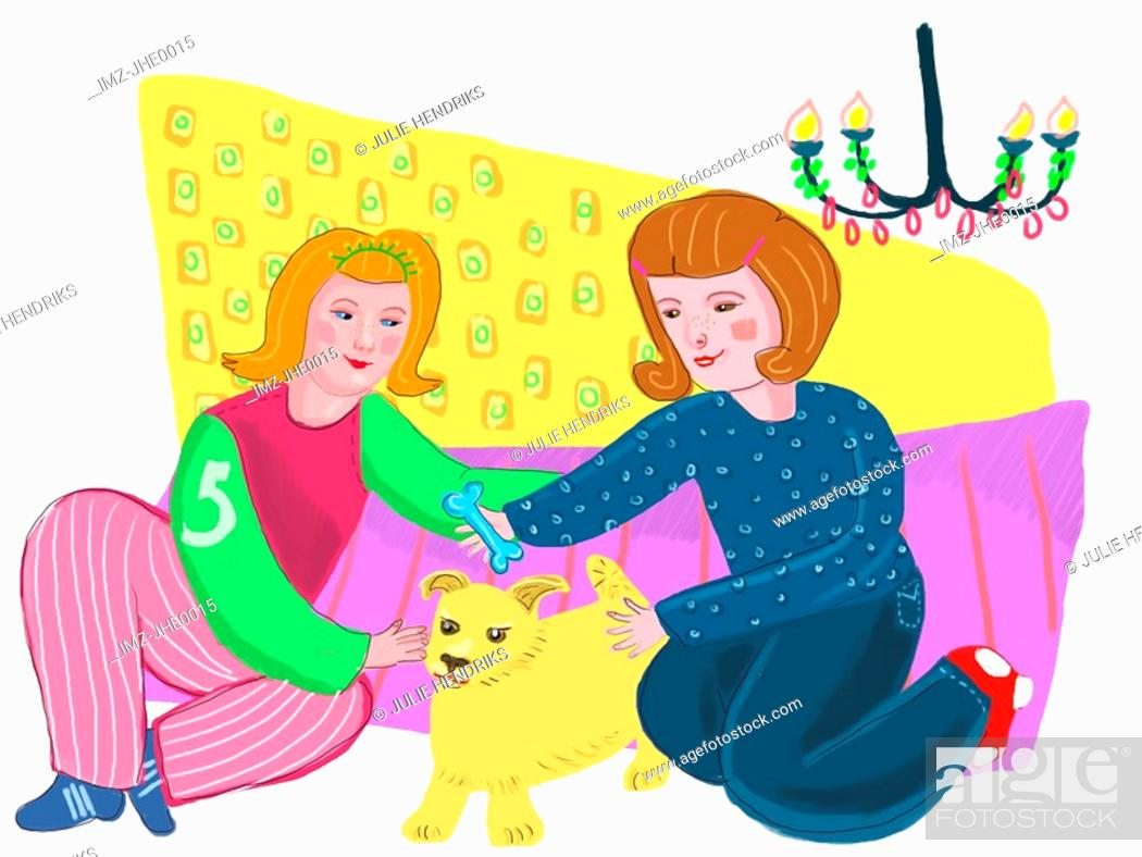 Stock Photo: Two women playing with a puppy.
