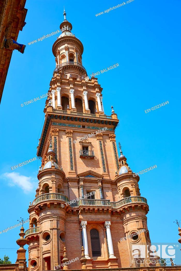 Stock Photo: Seville Sevilla Plaza de Espana Andalusia Spain square.