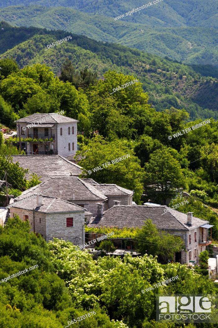 Stock Photo: Greece, Epirus Region, Zagorohoria Area, Vikos Gorge, village of Monodendri.