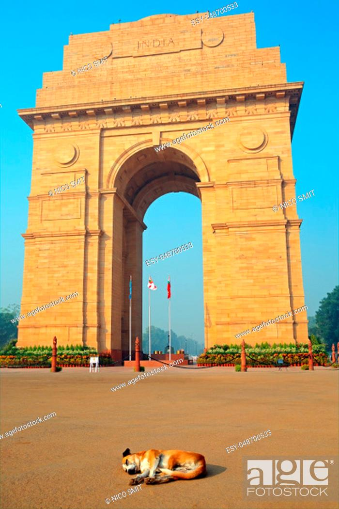 Stock Photo: Architectural detail of the war memorial, India Gate - New Delhi, India.