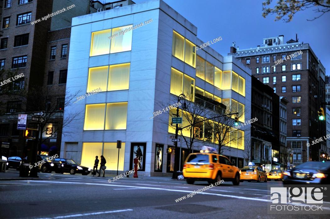 Stock Photo: Madison Avenue and East 65th Street at Dusk, New York, NY, USA.