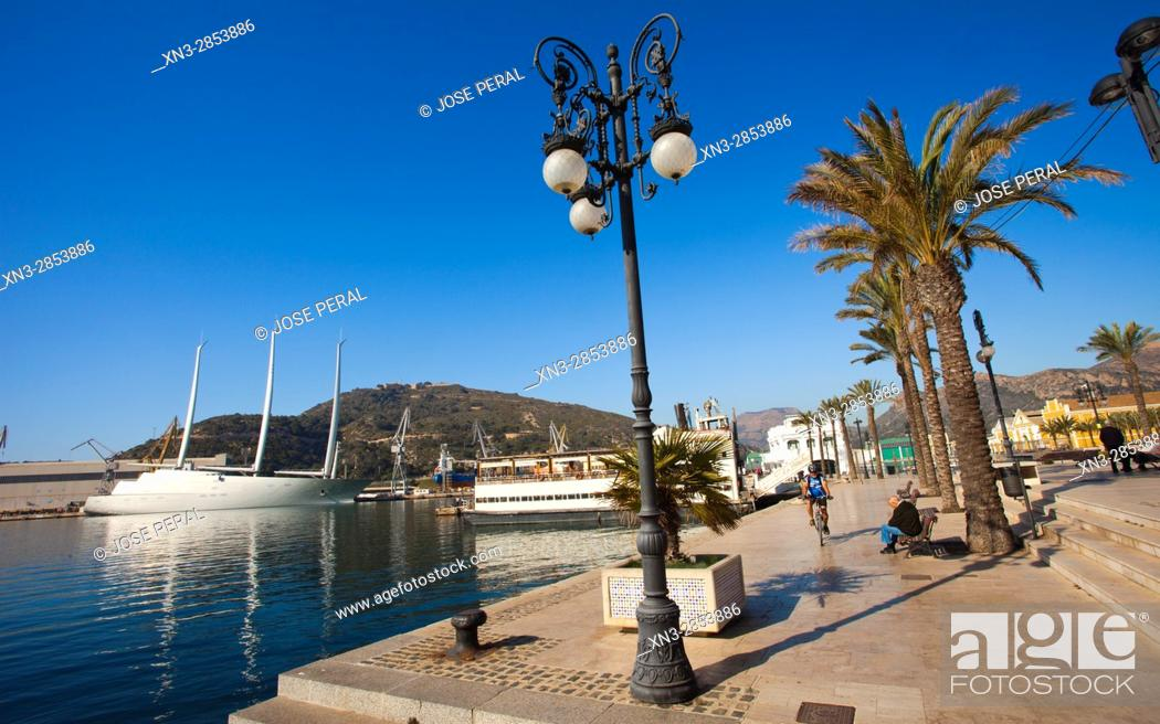 Stock Photo: Sailing Yacht A on background, Harbour, Promenade, Cartagena City, Murcia Region, Spain.