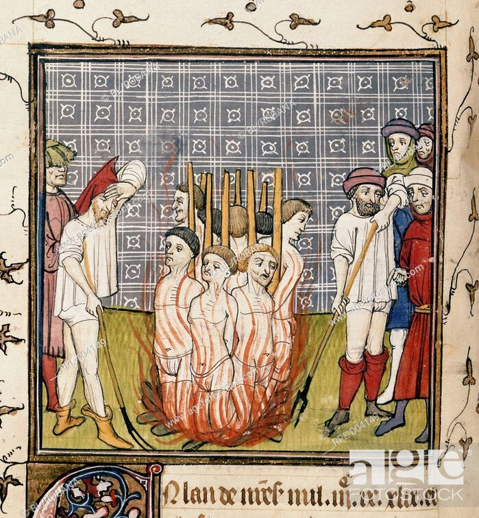 Imagen: The burning of the Templars. Image taken from Chroniques de France ou de St Denis. Originally published/produced in End of 14th century.