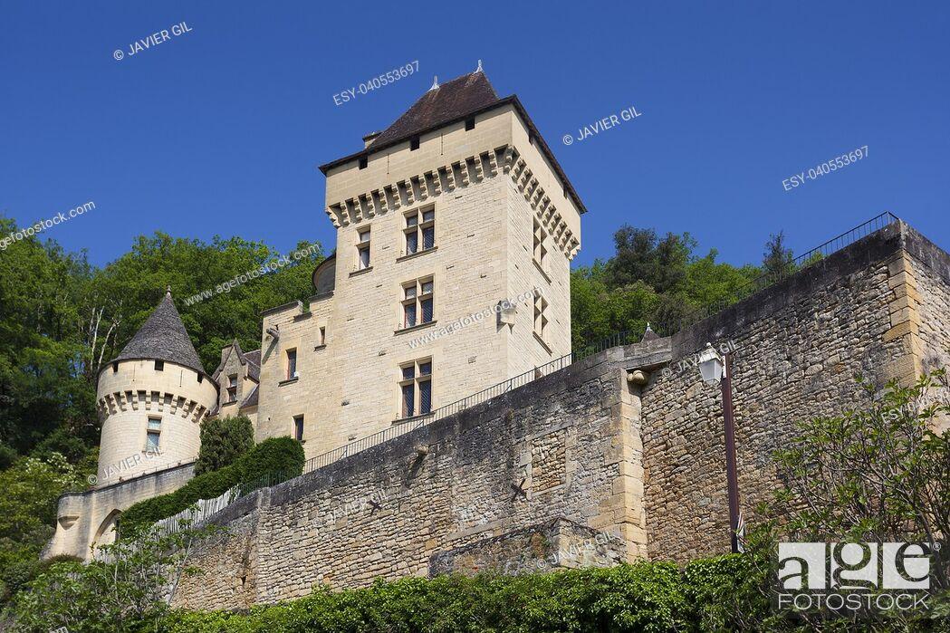 Stock Photo: Architecture of La Roque-Gageac, Dordogne, Aquitaine, France.