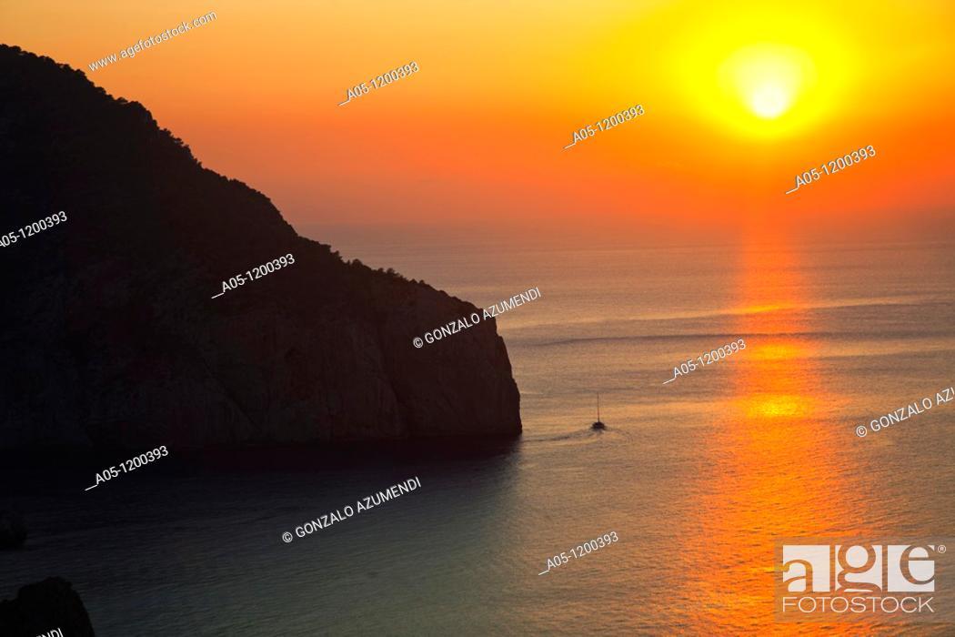 Stock Photo: Sunset from Hacienda Na Xamena Hotel. Sant Miquel. Ibiza. Balearic Islands. Spain.