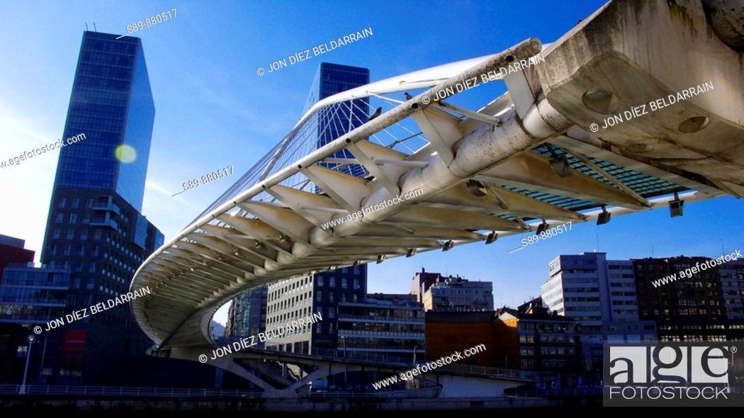 Stock Photo: Isozaki Atea o Puerta de Isozaki es un complejo arquitectónico construido por Arata Isozaki.  Zubi Zuri o Puente Blanco obra de Santiago Calatrava.
