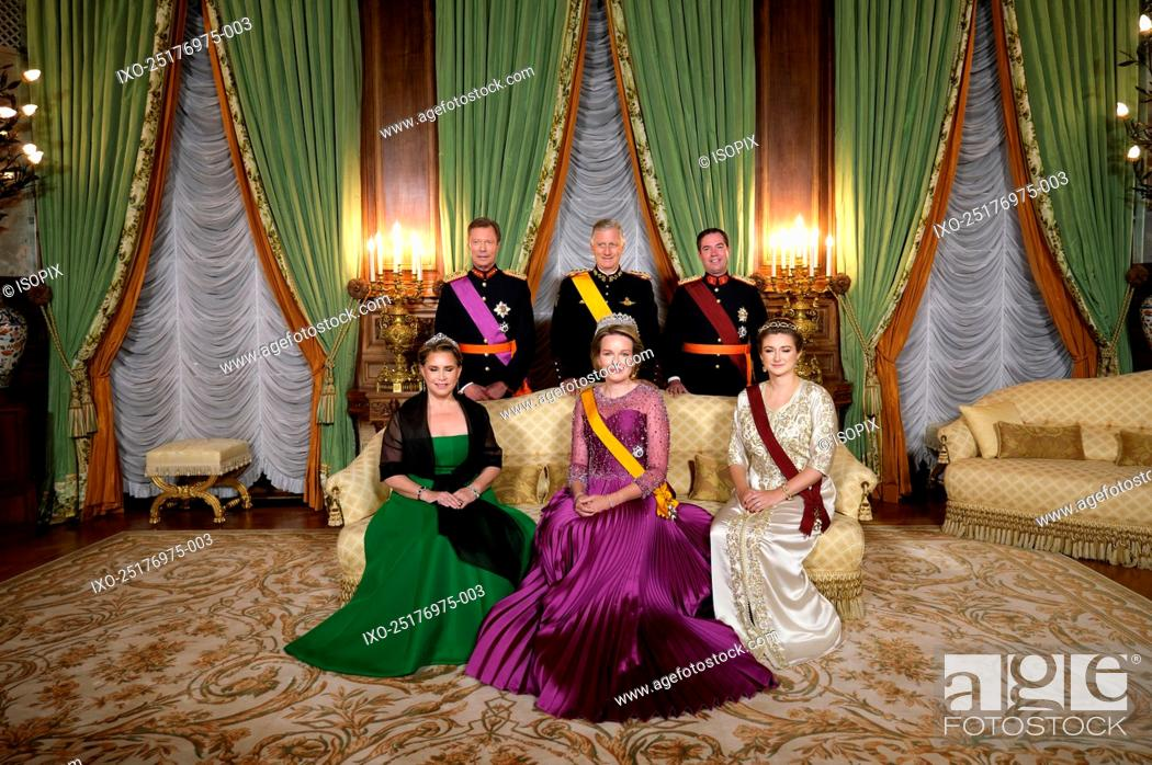 Stock Photo: Grand Duke Henri of Luxembourg, Grand Duchess Maria Teresa of Luxembourg, King Philippe - Filip of Belgium, Queen Mathilde of Belgium and Prince Guillaume.