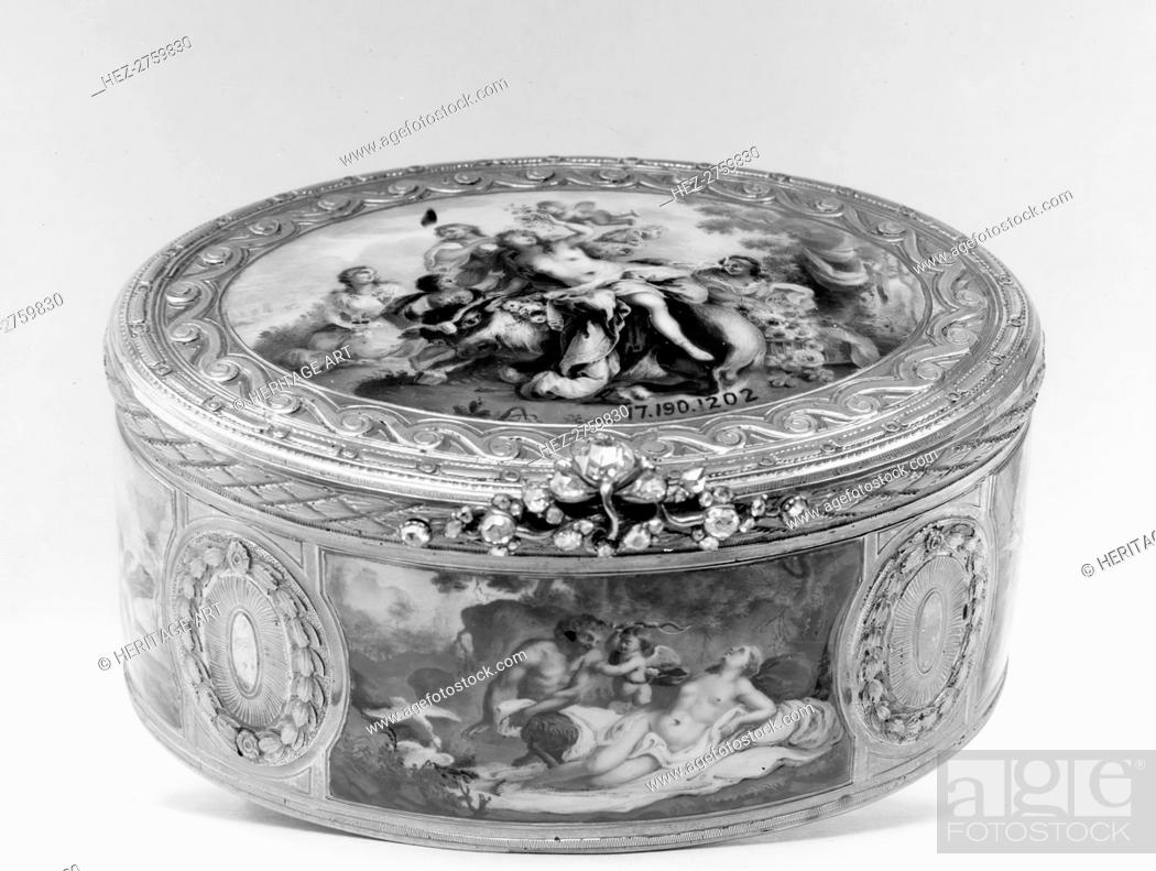 Photo de stock: Snuffbox with mythological scenes, 18th century. Creator: Unknown.