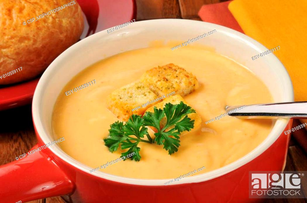Stock Photo: Creamy lobster bisque with sherry.