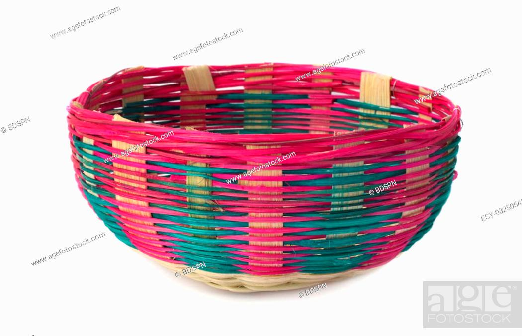 Photo de stock: Colorful bamboo basket over white background.