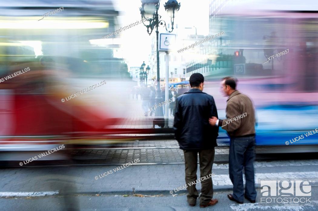 Stock Photo: Tunisia: City of Tunis  tramway in Habib Bourguiba Avenue.