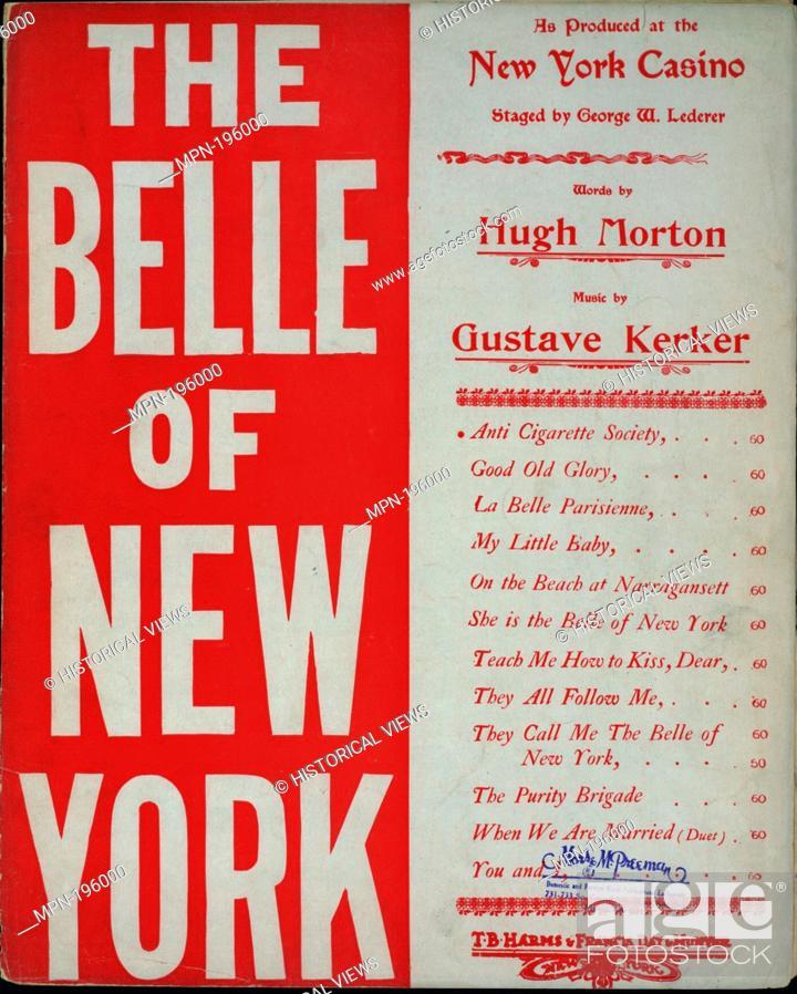 Stock Photo: Anti cigarette society Additional title: The belle of New York. Anti cigarette society. Vocal score. Morton, Hugh (1865-1916) (Lyricist) Kerker.
