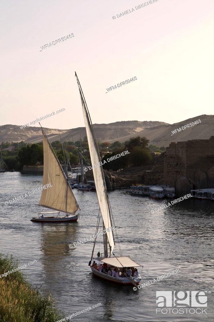 Stock Photo: Feluccas on Nile River, Aswan, Egypt.