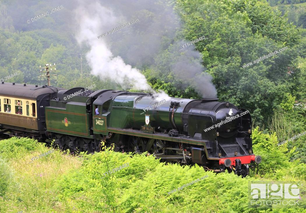 Stock Photo: West Country Class 'Taw Valley' departs Highley station, Shropshire, England, Europe.