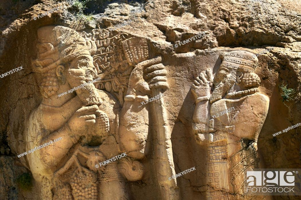 Photo de stock: Picture of the Ivriz Hittite rock relief sculpture monument dedicated to King Warpalawas in which he talks to Tarhundas the God of Thunder.