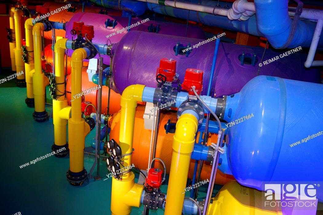 Stock Photo: Large colorful water filtration tanks at Ripley's Aquarium Toronto.