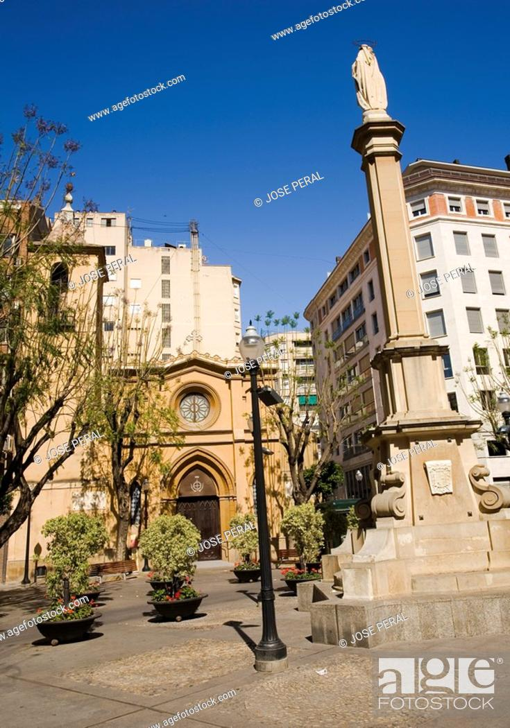 Stock Photo: Santa Catalina Square and church, Murcia, Spain.