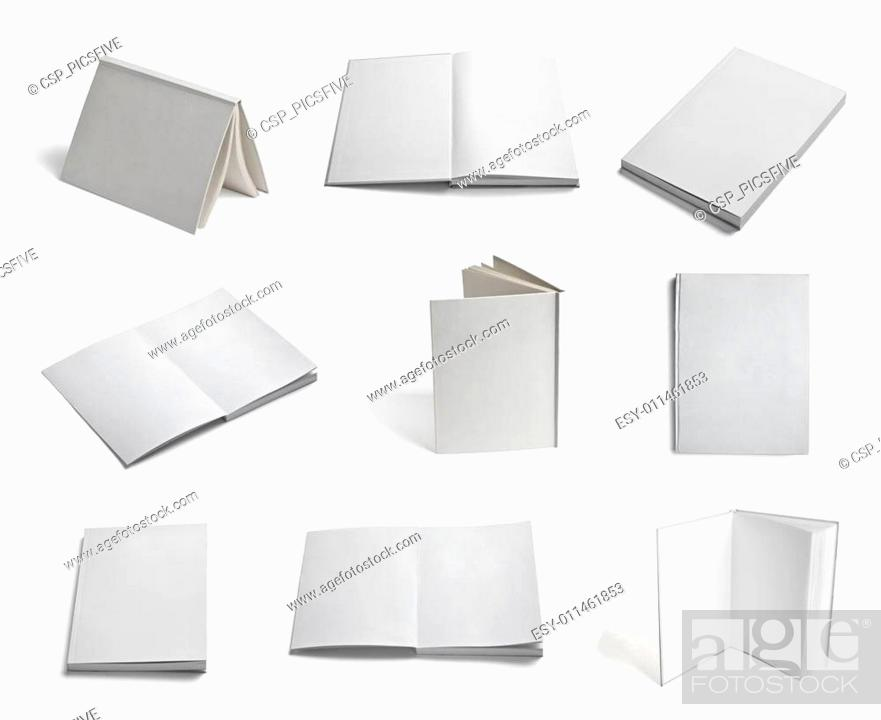 Stock Photo: leaflet notebook textbook white blank paper template.