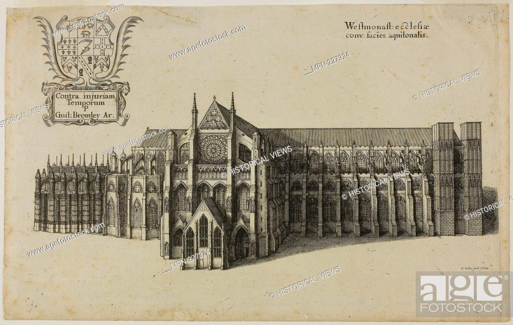 Stock Photo: View from the North Westminster Church - Wenceslaus Hollar Czech, 1607-1677 - Artist: Wenceslaus Hollar, Origin: Bohemia, Date: 1627-1677.