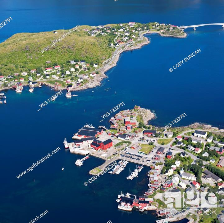 Stock Photo: Aerial view of village of Reine, Moskenesoya, Lofoten islands, Norway.